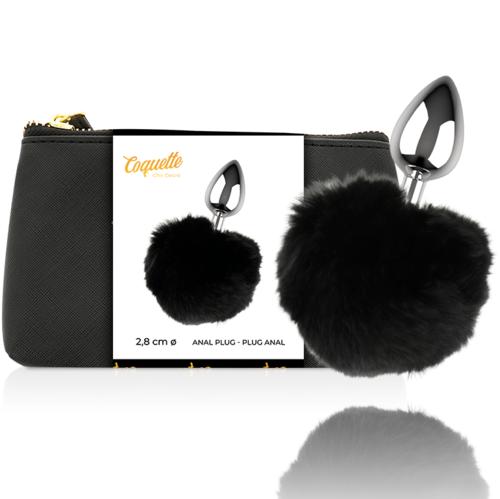 Plug Coquette - cauda de coelho preto